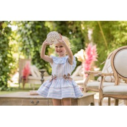 Vestido Dolce Petit rayas azul - rosa
