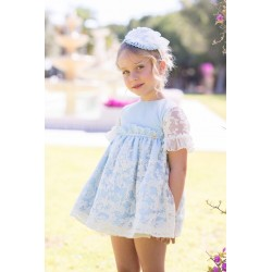 Vestido  Dolce Petit azul- bordado beig